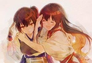 Rating: Safe Score: 31 Tags: 2girls 888myrrh888 akagi_(kancolle) anthropomorphism blush brown_eyes brown_hair gloves hug japanese_clothes kaga_(kancolle) kantai_collection ponytail User: RyuZU