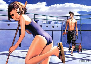 Rating: Safe Score: 85 Tags: brown_hair clouds gray_eyes male necklace pool range_murata swimsuit User: gnarf1975