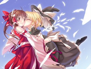 Rating: Safe Score: 66 Tags: 2girls apron blonde_hair blush bow braids brown_eyes brown_hair feathers hakurei_reimu hat kirisame_marisa kiss long_hair ponytail touhou witch_hat User: w7382001