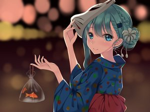 Rating: Safe Score: 108 Tags: animal blue_eyes blue_hair braids fish japanese_clothes kantai_collection mask suzuya_(kancolle) tagme_(artist) yukata User: RyuZU