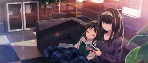 Rating: Safe Score: 33 Tags: 2girls black_hair blue_eyes couch headband idolmaster idolmaster_cinderella_girls loli long_hair necklace sagisawa_fumika sleeping tachibana_arisu yuuki_tatsuya User: RyuZU