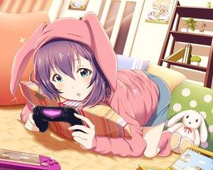 Rating: Safe Score: 52 Tags: animal_ears aqua_eyes book bunny game_console hoodie idolmaster idolmaster_million_live! mochizuki_anna purple_hair shiokazunoko shorts User: BattlequeenYume