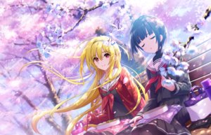 Rating: Safe Score: 48 Tags: 2girls annin_doufu blonde_hair blue_hair cherry_blossoms flowers food headband idolmaster idolmaster_cinderella_girls idolmaster_cinderella_girls_starlight_stage kurosaki_chitose long_hair pantyhose red_eyes school_uniform shirayuki_chiyo short_hair skirt tree User: sadodere-chan