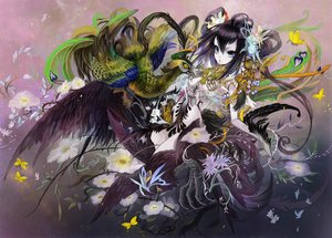 Rating: Safe Score: 136 Tags: aililith animal bird black_hair blue_eyes butterfly feathers flowers original pointed_ears wings User: FormX