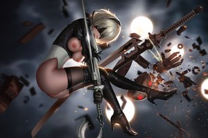 Rating: Explicit Score: 45 Tags: blindfold breasts gloves gray_hair leotard liang_xing nier nier:_automata nipples nopan pussy_juice realistic robot short_hair sword thighhighs weapon yorha_unit_no._2_type_b User: SciFi