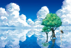 Rating: Safe Score: 215 Tags: amemura_(caramelo) clouds dress hat landscape original ribbons scenic sky summer_dress tree water User: HawthorneKitty