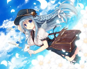 Rating: Safe Score: 11 Tags: animal bird blue_eyes blue_hair braids clouds dress flowers gloves long_hair original sky tagme_(artist) thighhighs tie User: BattlequeenYume