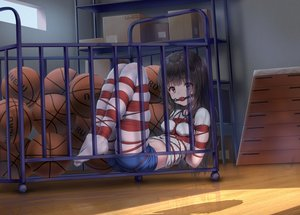 Rating: Safe Score: 63 Tags: ball bondage brown_eyes brown_hair gag gym_uniform haneru long_hair original pantyhose rope signed thighhighs User: BattlequeenYume