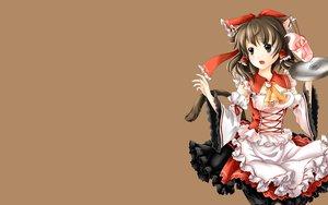 Rating: Safe Score: 40 Tags: animal_ears brown catgirl hakurei_reimu nanairo tail touhou waitress User: SciFi