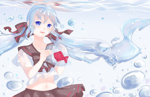 Rating: Safe Score: 34 Tags: animal aqua_hair blue_eyes bottle_miku fish hatsune_miku tagme vocaloid User: lenismine