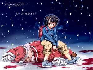 Rating: Questionable Score: 32 Tags: blood christmas hat jpeg_artifacts nevada santa_claus santa_hat User: Oyashiro-sama