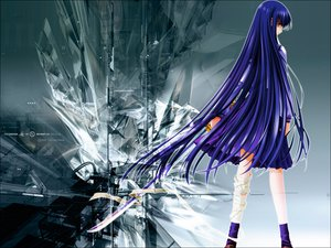 Rating: Safe Score: 23 Tags: azuma_hazuki blue_hair carnelian sword weapon yami_to_boushi_to_hon_no_tabibito User: Naoki