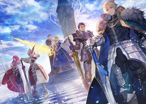 Rating: Safe Score: 63 Tags: agravain aqua_eyes armor artoria_pendragon_(all) artoria_pendragon_(lancer) blonde_hair boots bow_(weapon) cape clouds crown dress fate/apocrypha fate/grand_order fate_(series) gawain green_eyes group lack lancelot_(fate) long_hair male mordred purple_hair red_hair short_hair sky stairs sword tristan_(fate/grand_order) weapon User: RyuZU