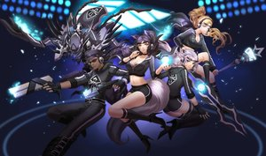 Rating: Safe Score: 168 Tags: ahri_(league_of_legends) animal_ears blonde_hair blue_hair breasts cleavage foxgirl goggles gun headphones irelia janna kha'zix kneehighs league_of_legends liuruoyu8888 long_hair lucian_(league_of_legends) magic mecha navel pink_hair ponytail shorts staff thighhighs weapon yellow_eyes User: Flandre93