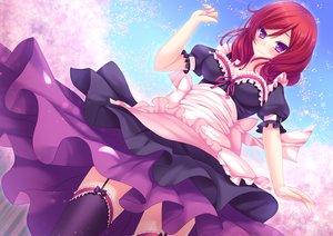 Rating: Safe Score: 115 Tags: bow dress garter garter_belt long_hair love_live!_school_idol_project maid nishikino_maki purple_eyes red_hair stockings thighhighs toshi User: Flandre93