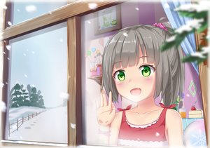 Rating: Safe Score: 16 Tags: abwan blush fang gray_hair green_eyes loli original ponytail snow User: gnarf1975