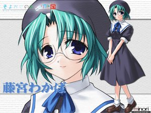 Rating: Safe Score: 3 Tags: blue_eyes fujimiya_wakaba glasses green_hair hat seifuku wind:_a_breath_of_heart User: Oyashiro-sama