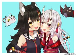 Rating: Safe Score: 25 Tags: 2girls animal_ears bell black_hair choker demon fang gray_hair hololive horns japanese_clothes katana long_hair ma_kimere nakiri_ayame ookami_mio red_eyes rope signed sword weapon wolfgirl yellow_eyes User: RyuZU