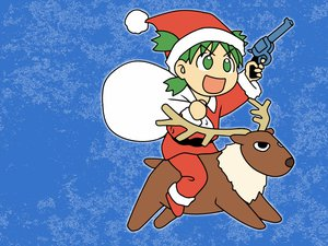 Rating: Safe Score: 16 Tags: christmas gun hat koiwai_yotsuba reindeer santa_costume santa_hat weapon yotsubato! User: Oyashiro-sama