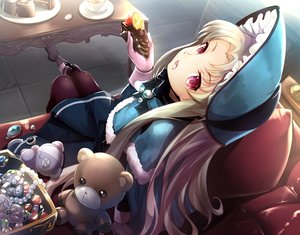 Rating: Safe Score: 53 Tags: blonde_hair cake cape drink food fruit gloves headdress kaitou_tenshi_twin_angel kouzu_shou lolita_fashion long_hair necklace pantyhose red_eyes salome_(twin_angel) strawberry teddy_bear User: RyuZU