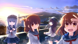 Rating: Safe Score: 50 Tags: akatsuki_(kancolle) anthropomorphism blue_eyes blue_hair boat brown_eyes brown_hair chipika clouds fang flute group hat hibiki_(kancolle) ikazuchi_(kancolle) inazuma_(kancolle) instrument jpeg_artifacts kantai_collection landscape lighthouse non_non_biyori parody purple_hair scenic school_uniform skirt sky water User: FormX