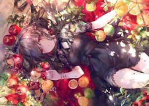 Rating: Safe Score: 197 Tags: apple blush brown_hair dress drink food fruit gothic long_hair onineko orange_(fruit) original red_eyes see_through tears User: BattlequeenYume