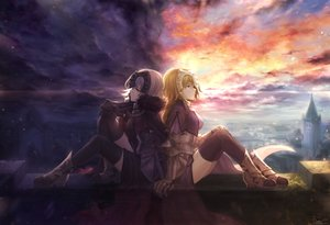 Rating: Safe Score: 135 Tags: armor blonde_hair blue_eyes chain elbow_gloves fate/grand_order fate_(series) gloves headdress jeanne_d'arc_alter jeanne_d'arc_(fate) long_hair mashu_003 short_hair signed thighhighs white_hair yellow_eyes User: luckyluna