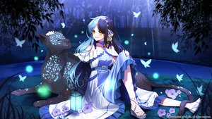 Rating: Safe Score: 24 Tags: animal aqua_hair butterfly dress eile_(esspril) flowers garter grass headband long_hair night original tree yellow_eyes User: BattlequeenYume