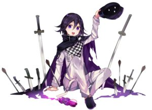Rating: Safe Score: 32 Tags: all_male black_hair cape dangan-ronpa drink hat katana knife male new_dangan-ronpa_v3 ouma_kokichi purple_eyes scarf short_hair sword tetsubuta weapon User: otaku_emmy