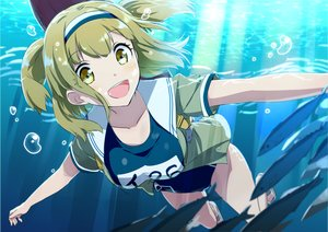 Rating: Safe Score: 82 Tags: animal anthropomorphism blonde_hair breasts fish gochou_(comedia80) headband i-26_(kancolle) kantai_collection school_swimsuit short_hair swimsuit twintails underwater water yellow_eyes User: otaku_emmy