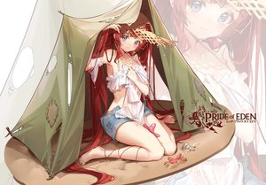 Rating: Safe Score: 80 Tags: barefoot blue_eyes blush clouble hat logo long_hair red_hair red:_pride_of_eden shorts tagme_(character) tears zoom_layer User: BattlequeenYume