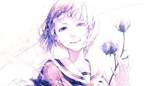 Rating: Safe Score: 25 Tags: bouno_satoshi close flowers monochrome original purple_eyes rose school_uniform short_hair User: otaku_emmy