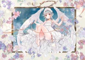 Rating: Safe Score: 74 Tags: aliasing barefoot blush flowers gray_hair halo long_hair original pointed_ears umi_no_mizu wings yellow_eyes User: BattlequeenYume
