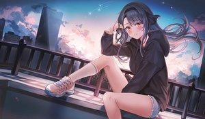 Rating: Safe Score: 60 Tags: building city clouds headband hoodie kneehighs long_hair original ran9u rooftop shorts sky waifu2x User: BattlequeenYume