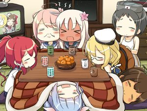 Rating: Safe Score: 26 Tags: anthropomorphism black_hair blonde_hair blue_hair blush brown_hair dark_skin drink engiyoshi food fruit goggles group i-168_(kancolle) i-19_(kancolle) i-401_(kancolle) i-58_(kancolle) i-8_(kancolle) kantai_collection kotatsu long_hair mamiya_(kancolle) maru-yu_(kancolle) night orange_(fruit) pink_hair ponytail red_hair ro-500_(kancolle) school_uniform short_hair sleeping swimsuit white_hair User: otaku_emmy