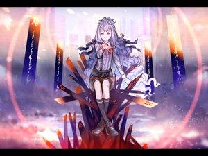 Rating: Safe Score: 47 Tags: gray_hair haruko_(halife) kneehighs long_hair original red_eyes signed User: RyuZU