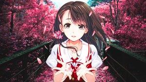 Rating: Safe Score: 97 Tags: brown_hair forest grass hanasaku_manimani ikeda_yasuhiro long_hair mochizuki_nao petals photo school_uniform tree User: kyxor