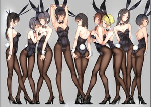 Rating: Questionable Score: 189 Tags: aliasing animal_ears ass ass_grab black_hair blonde_hair bodysuit bow braids breast_grab breast_hold breasts brown_hair bunny_ears bunnygirl cleavage collar gray_hair group headband navel original pantyhose ponytail short_hair skintight tail tie tsukino_wagamo twins twintails wristwear User: mattiasc02
