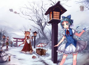 Rating: Safe Score: 74 Tags: blonde_hair blue_eyes blue_hair blush cirno cosplay gogetu gray_hair horns ibuki_suika japanese_clothes katana kirisame_marisa kisume konpaku_youmu long_hair miko red_eyes seifuku short_hair snow snowman sword touhou weapon wings User: SciFi