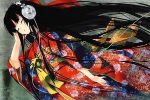 Rating: Safe Score: 167 Tags: black_hair enma_ai headphones japanese_clothes jigoku_shoujo jpeg_artifacts long_hair refeia scan yukata User: Shinigami-Seed
