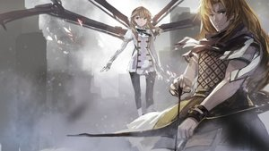 Rating: Safe Score: 68 Tags: 2girls blonde_hair bow_(weapon) brown_hair chiron fate/apocrypha fate_(series) fiore_forvedge_yggdmillennia long_hair swd3e2 weapon wristwear User: Flandre93