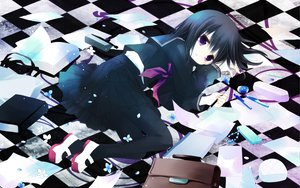 Rating: Safe Score: 57 Tags: black_hair book flowers paper petals purple_eyes sakurazawa_izumi seifuku short_hair tagme tears User: HawthorneKitty