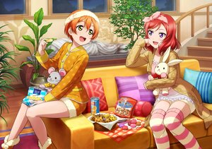 Rating: Safe Score: 33 Tags: 2girls bow candy couch green_eyes hoshizora_rin love_live!_school_idol_project nishikino_maki orange_hair pajamas purple_eyes red_hair short_hair shorts stairs tagme_(artist) thighhighs User: RyuZU