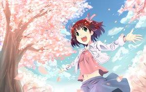 Rating: Safe Score: 35 Tags: amami_haruka cherry_blossoms flowers idolmaster petals sky yooguru User: HawthorneKitty
