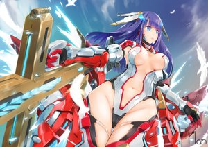 Rating: Safe Score: 52 Tags: animal armor bird blue_eyes breasts clouds fate/grand_order fate_(series) feathers gloves long_hair mechagirl navel purple_hair saint_martha sky tagme_(artist) weapon User: BattlequeenYume