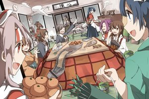 Rating: Safe Score: 63 Tags: akagi_(kancolle) akitsumaru_(kancolle) animal black_hair blue_eyes blue_hair book brown_hair cat chitose_(kancolle) chiyoda_(kancolle) drink error_musume_(kancolle) food fruit group headband hiryuu_(kancolle) houshou_(kancolle) japanese_clothes jun'you_(kancolle) kaga_(kancolle) kantai_collection kotatsu long_hair orange_eyes ponytail purple_hair red_eyes ryukadomatsu ryuujou_(kancolle) short_hair shouhou_(kancolle) shoukaku_(kancolle) skirt souryuu_(kancolle) taihou_(kancolle) translation_request twintails zuihou_(kancolle) zuikaku_(kancolle) User: ArthurS91