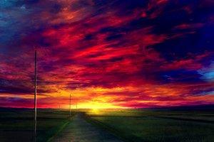 Rating: Safe Score: 53 Tags: clouds grass landscape mks nobody original scenic sky sunset User: RyuZU