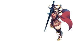 Rating: Safe Score: 126 Tags: armor blonde_hair blue_eyes boots cape crown elbow_gloves gloves lord_knight ragnarok_online skirt sword thighhighs weapon white xration zettai_ryouiki User: Freenight