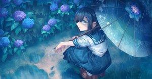 Rating: Safe Score: 35 Tags: aliasing black_hair flowers green_eyes original rain school_uniform shichigatsu short_hair skirt umbrella water User: BattlequeenYume