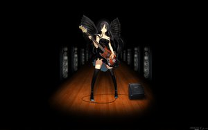 Rating: Safe Score: 125 Tags: akiyama_mio black_hair blue_eyes guitar instrument k-on! long_hair skirt thighhighs wings User: Karoola